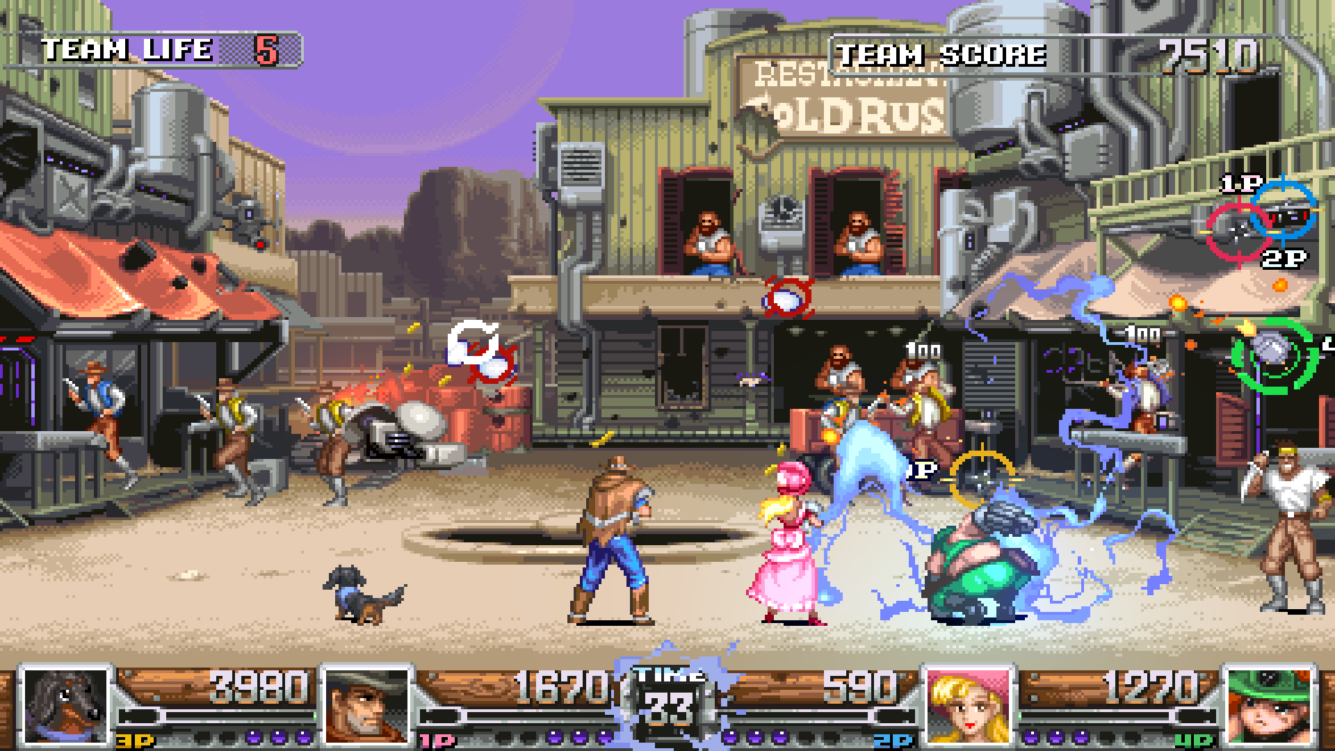 『WILD GUNS Reloaded』ゲーム画面